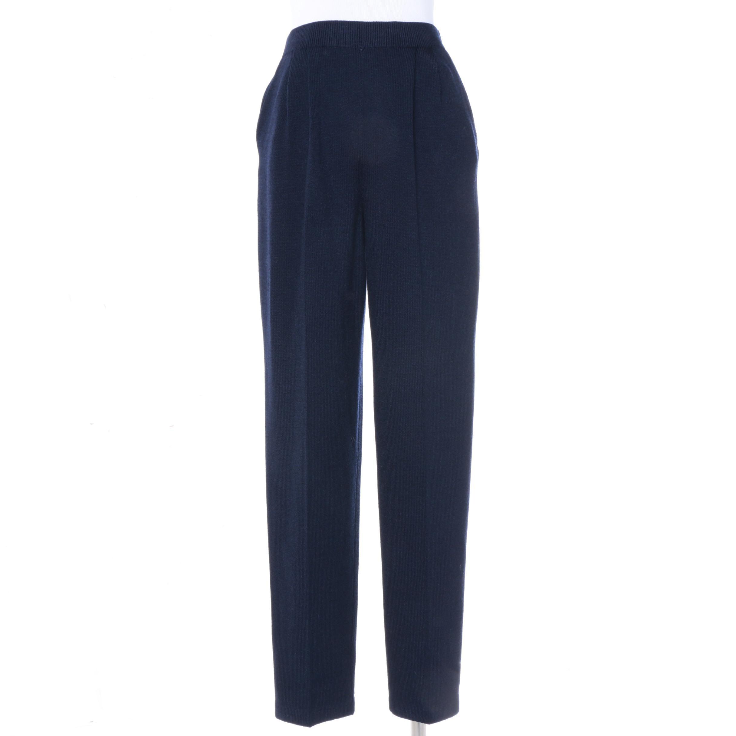 Women's St. John Basics Navy Blue Knit Slacks