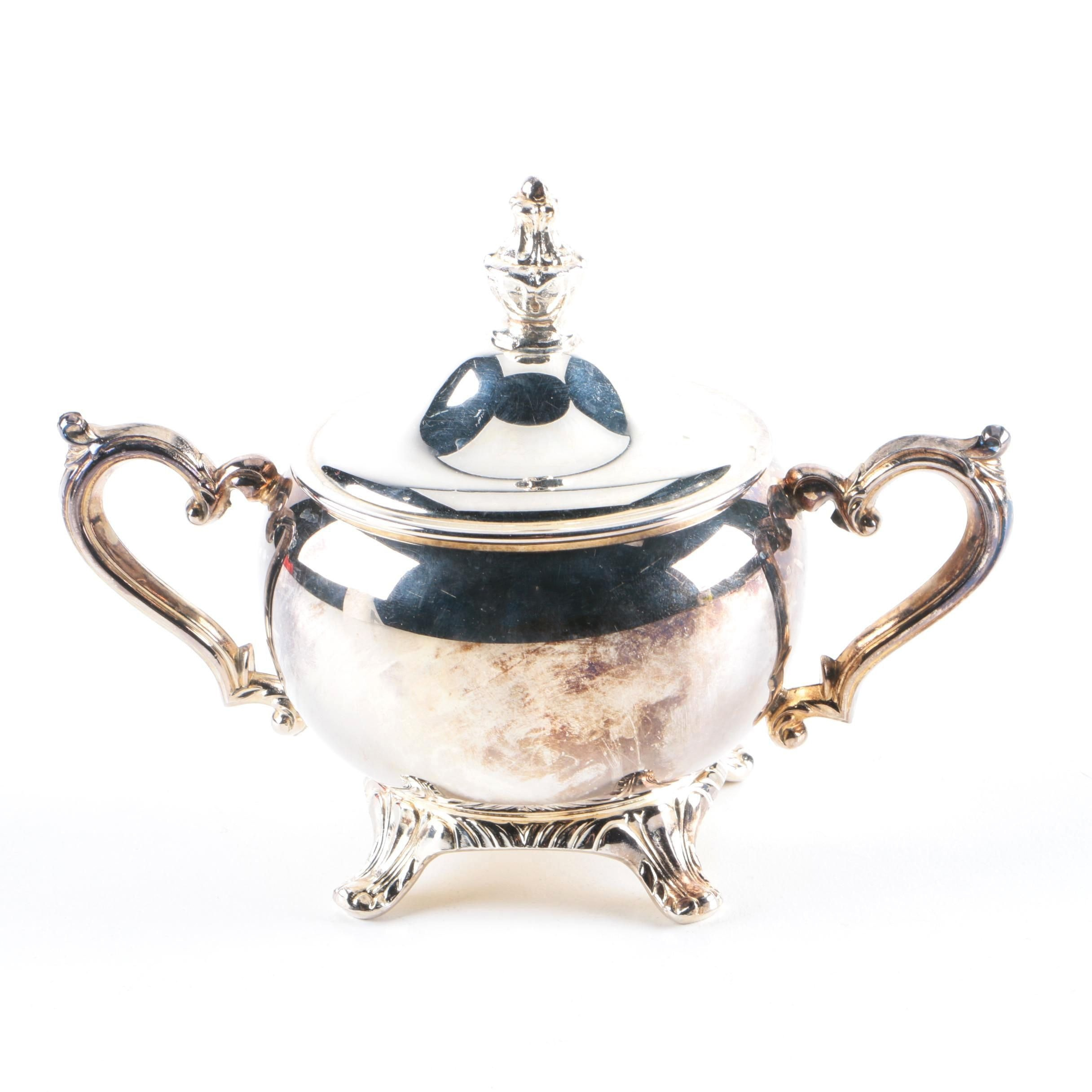 Silver Plate Lidded Sugar Bowl