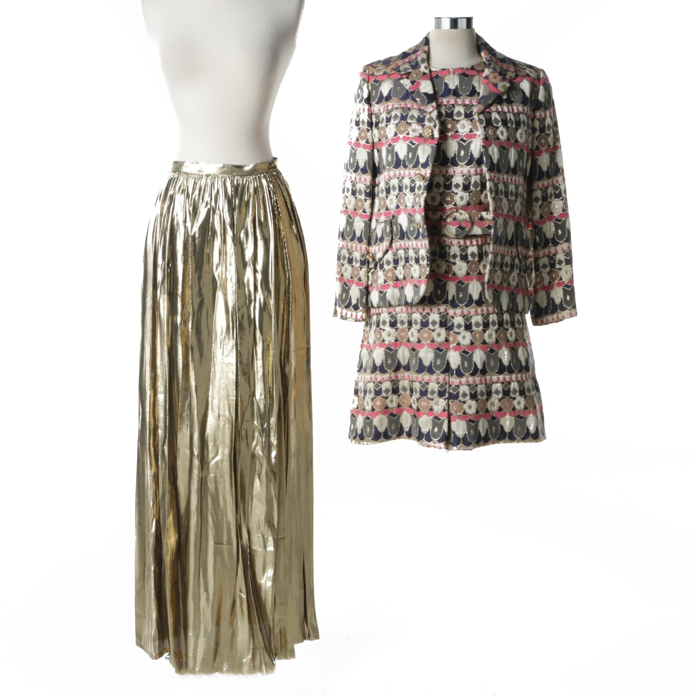 Women's 1960s Vintage Two-Piece Brocade Suit and Metallic Gold Skirt