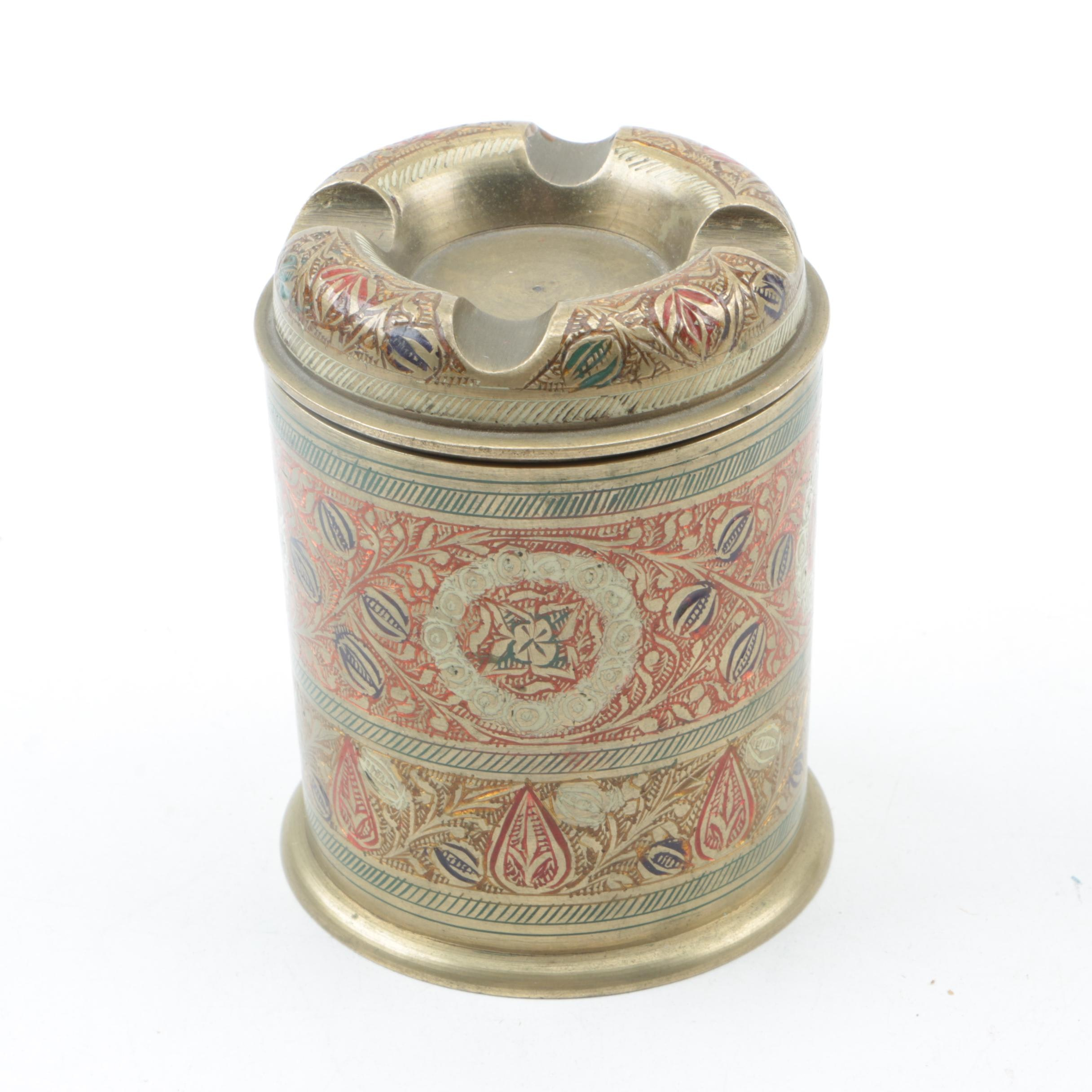 Metal Floral Motif Container with Ash Receiver Style Lid