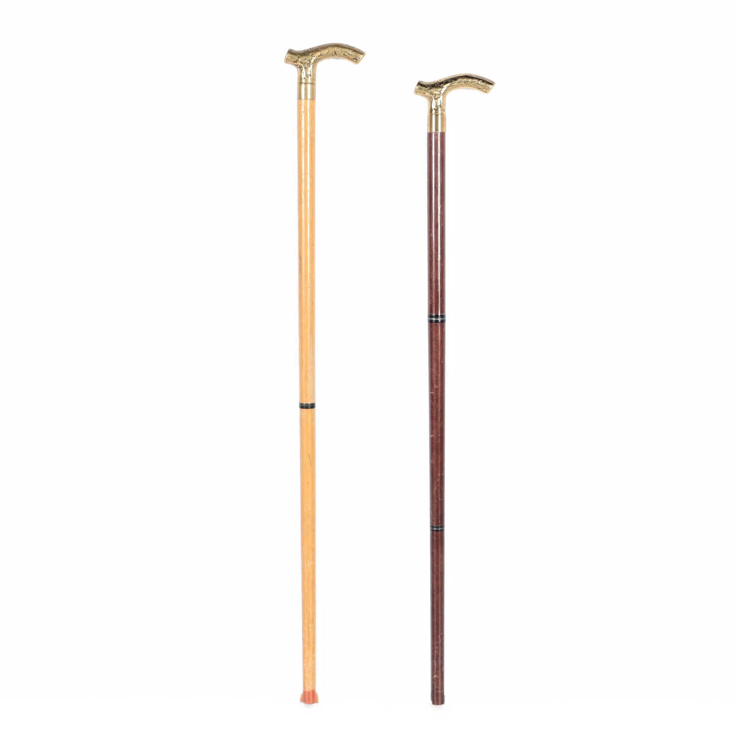 Pair of Wooden Canes with Brass Heads