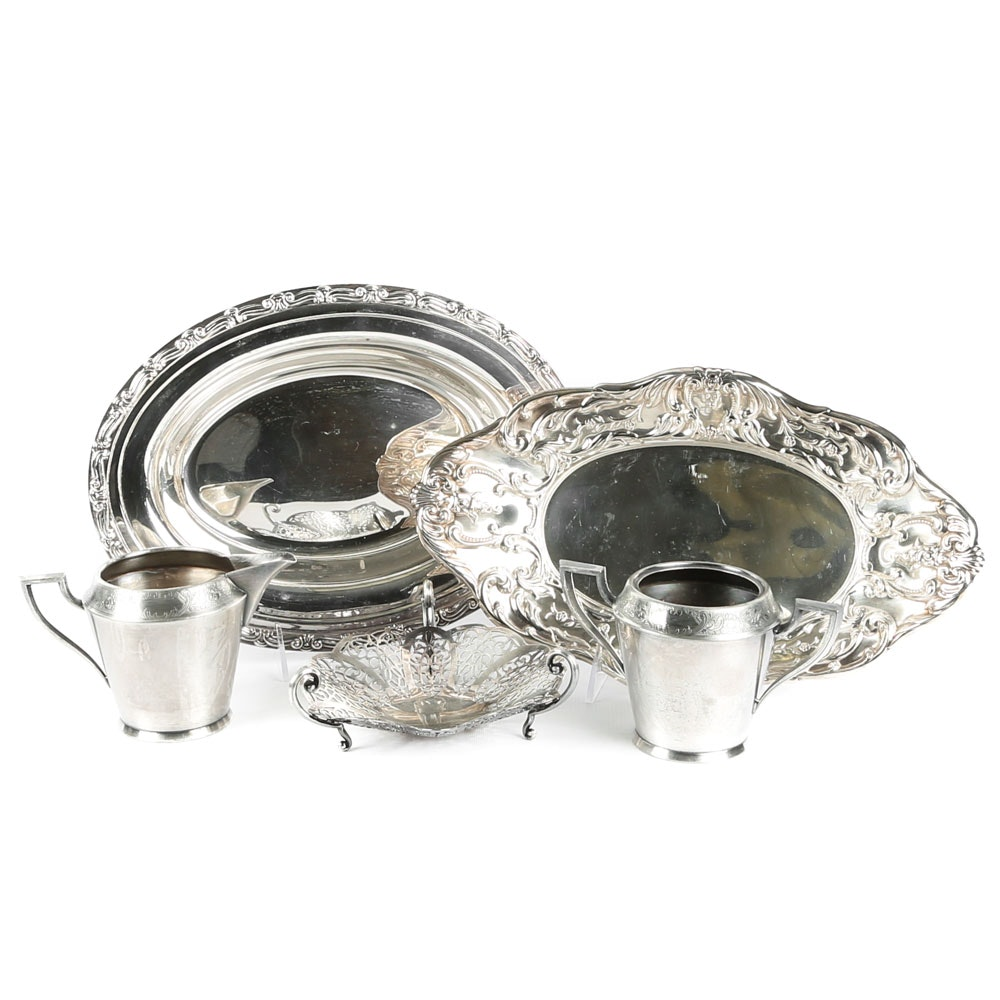 "Rogers ""Old Colony"" Cream and Sugar and Other Silver-Plated Tableware"