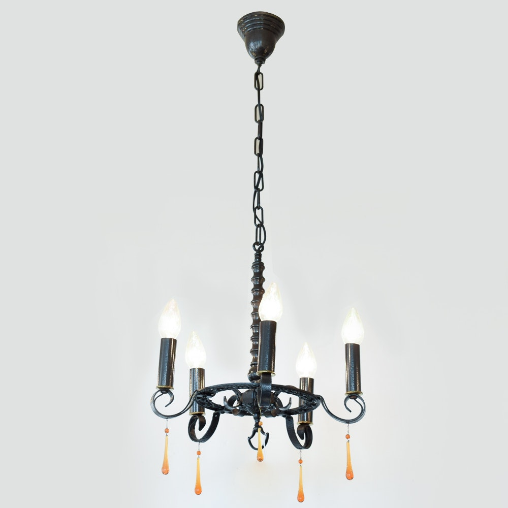 Black Metal Chandelier with Dangling Ornaments