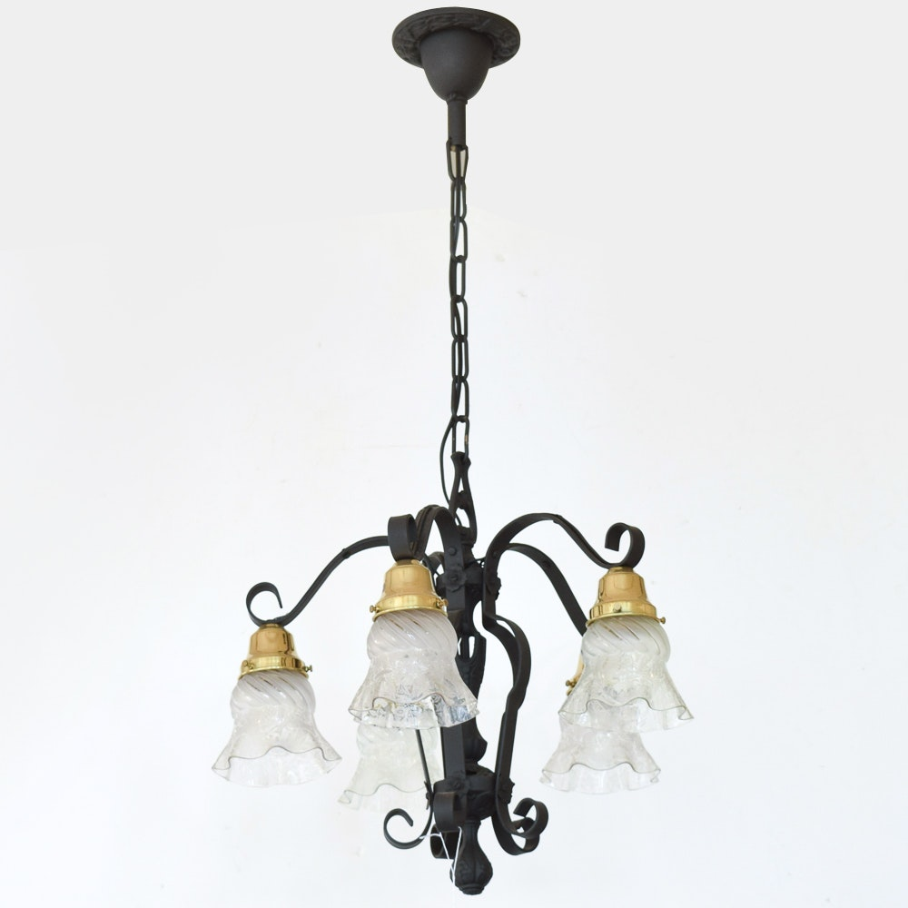 Black Metal Chandelier with Glass Shades