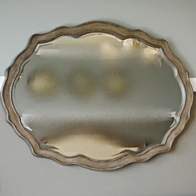 Scalloped Edge Wood Wall Mirror