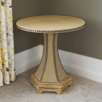 Burlap Nailhead Trimmed Accent Table