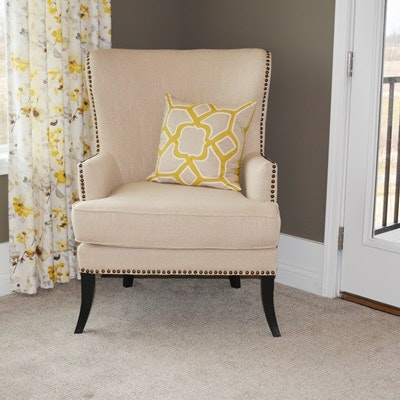 Flax Upholstered Wingback Armchair