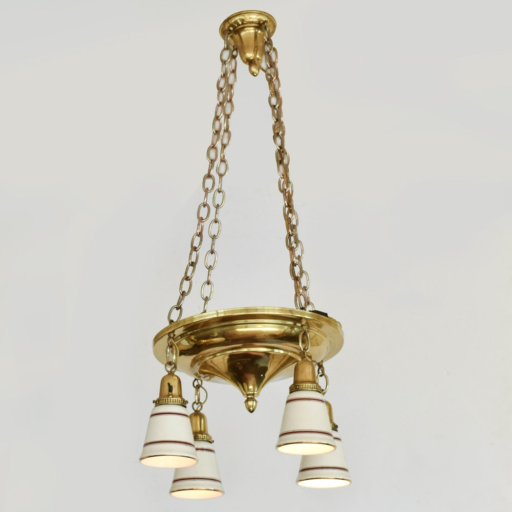 Four Light Brass Pan Chandelier