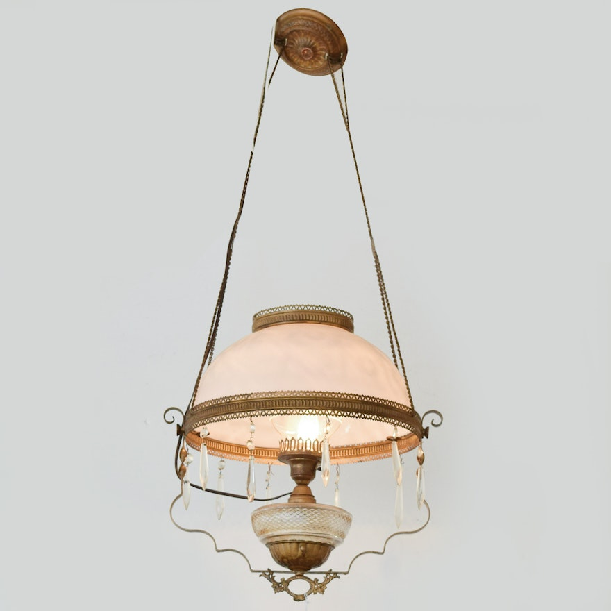 Converted Antique Victorian Oil Lamp Chandelier