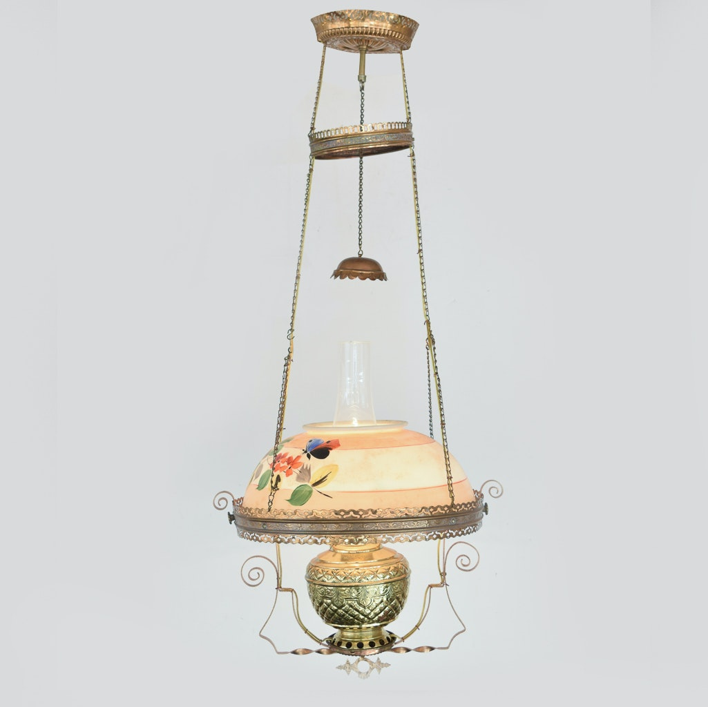 Antique Converted Hanging Oil Parlor Lamp