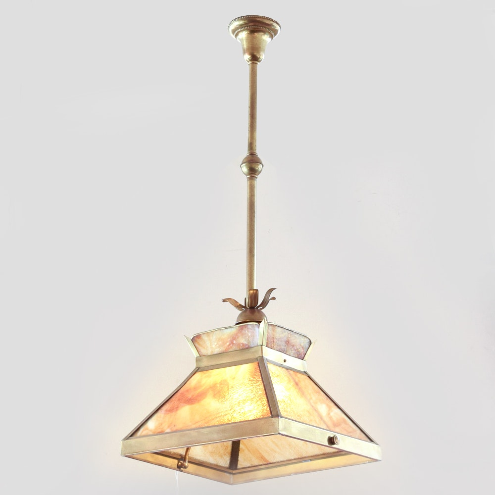 Slag Glass Ceiling Fixture by Continental