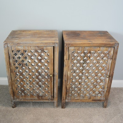 Distressed Pierced Wood and Mirrored Door End Tables