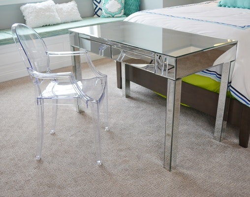 Mirrored Writing Desk and Acrylic Chair