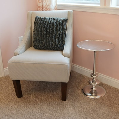Pinstripe Upholstered Chair and Accent Table