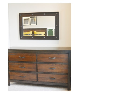 Rustic Design Six Drawer Low Dresser and Mirror