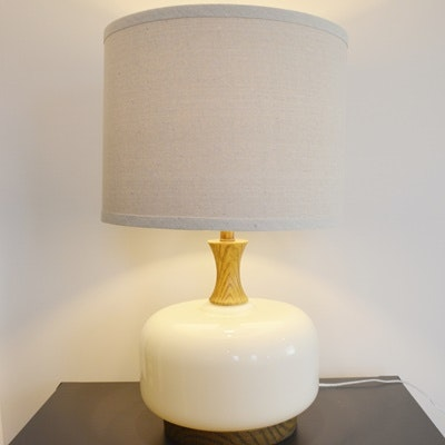 Cream Glass Table Lamp