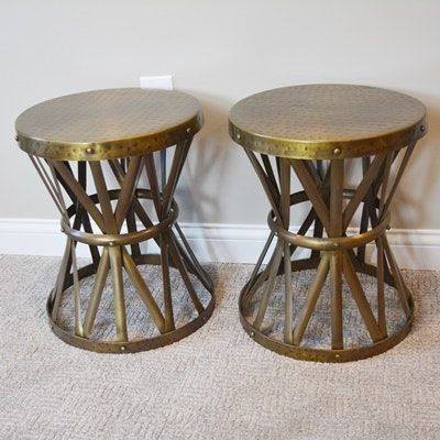 Brass Finish Hourglass Accent Tables