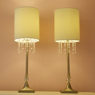Silver Tone Table Lamps with Prism Trim