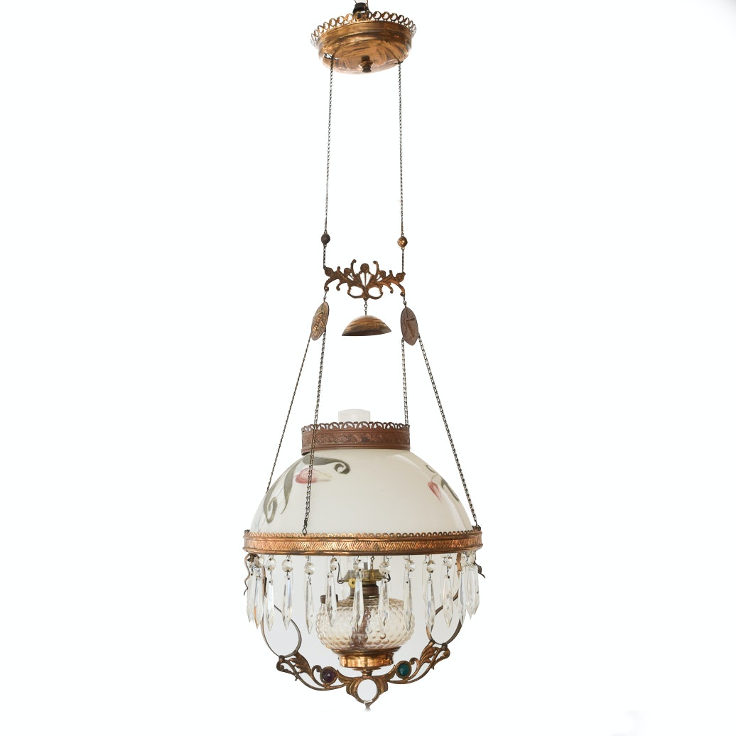 Antique Victorian Style Hanging Parlor Lamp