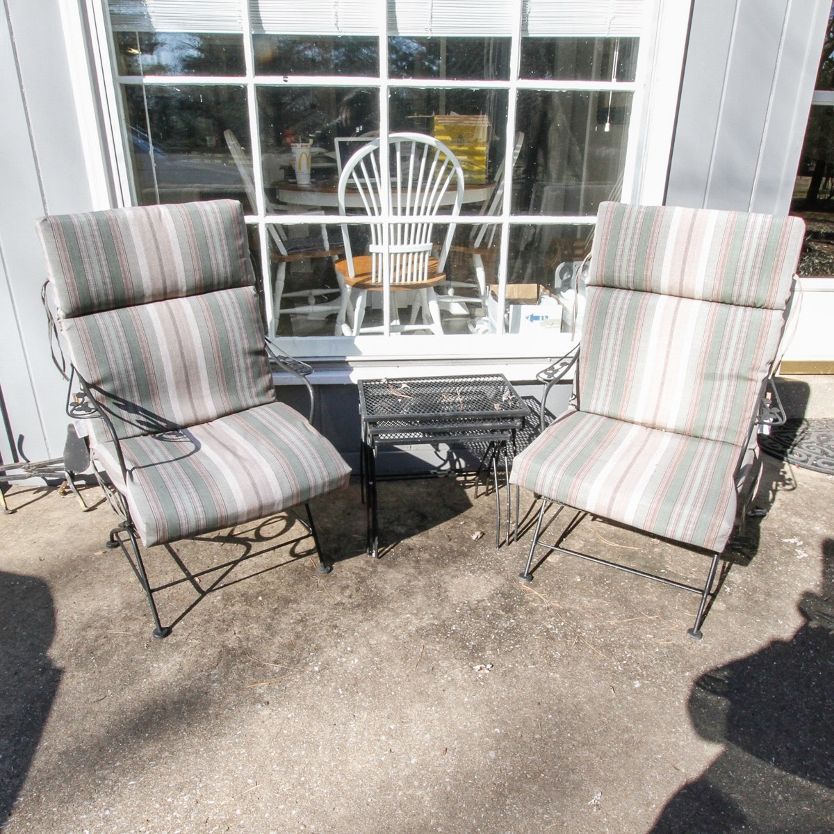 Pair of Outdoor Chairs and Three Nesting Side Tables