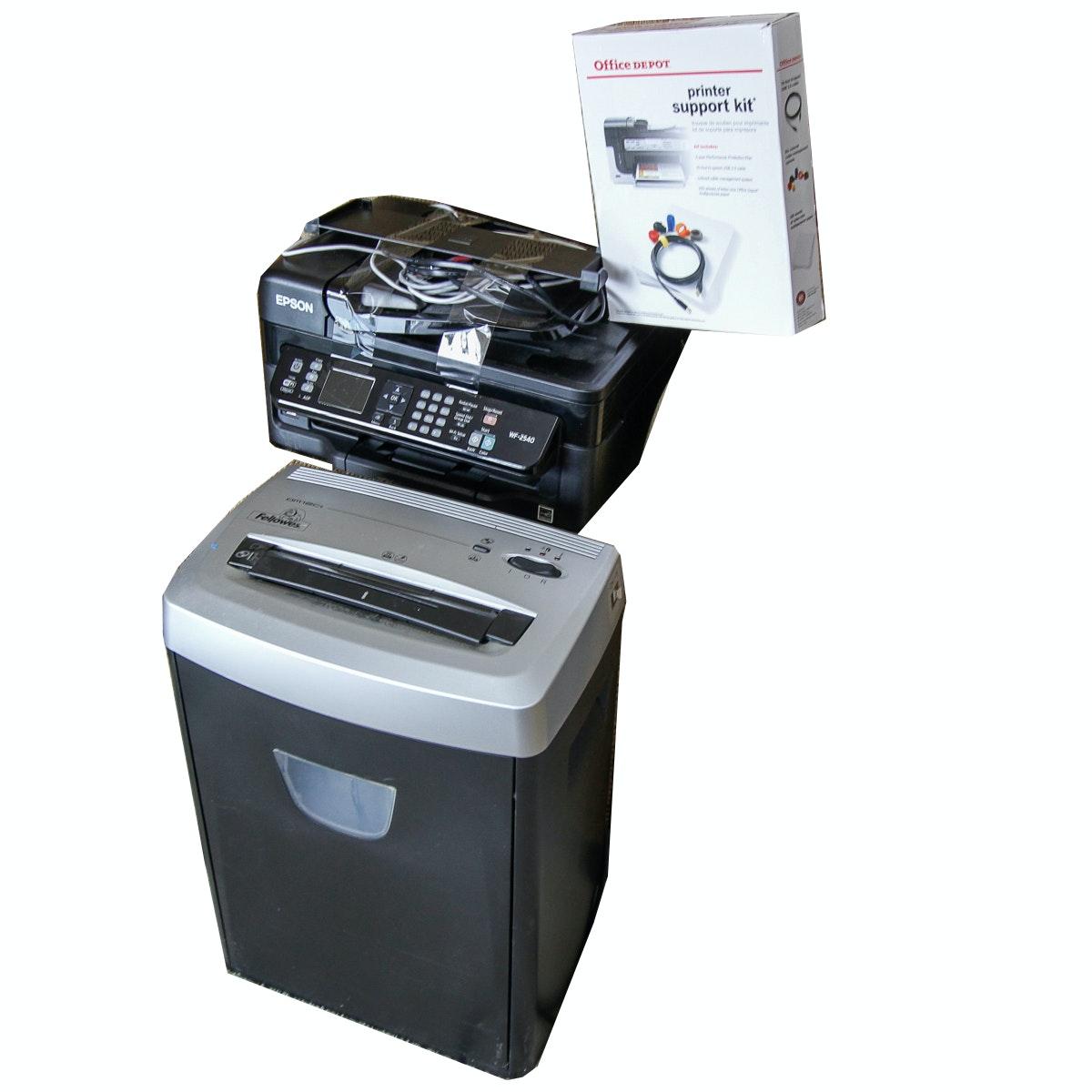 Epson WF-2540 Printer and Fellows Shredder
