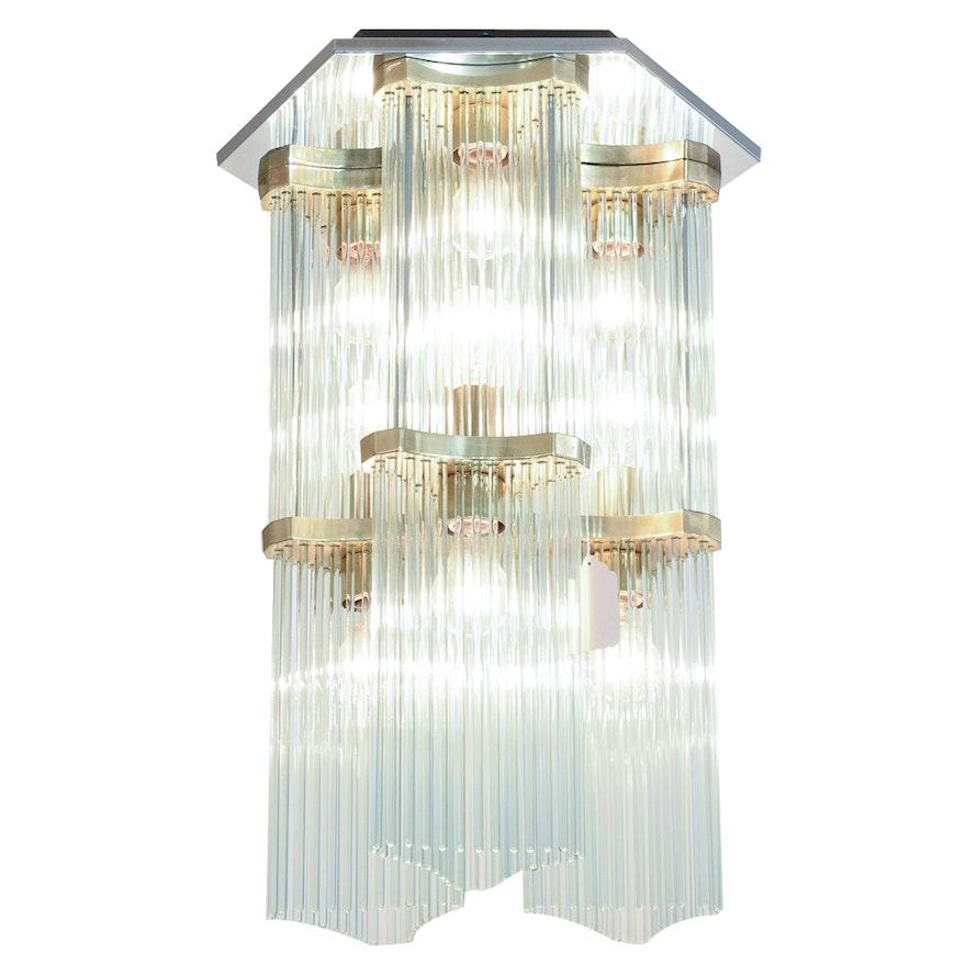 Art deco style glass rod chandelier ebth art deco style glass rod chandelier audiocablefo
