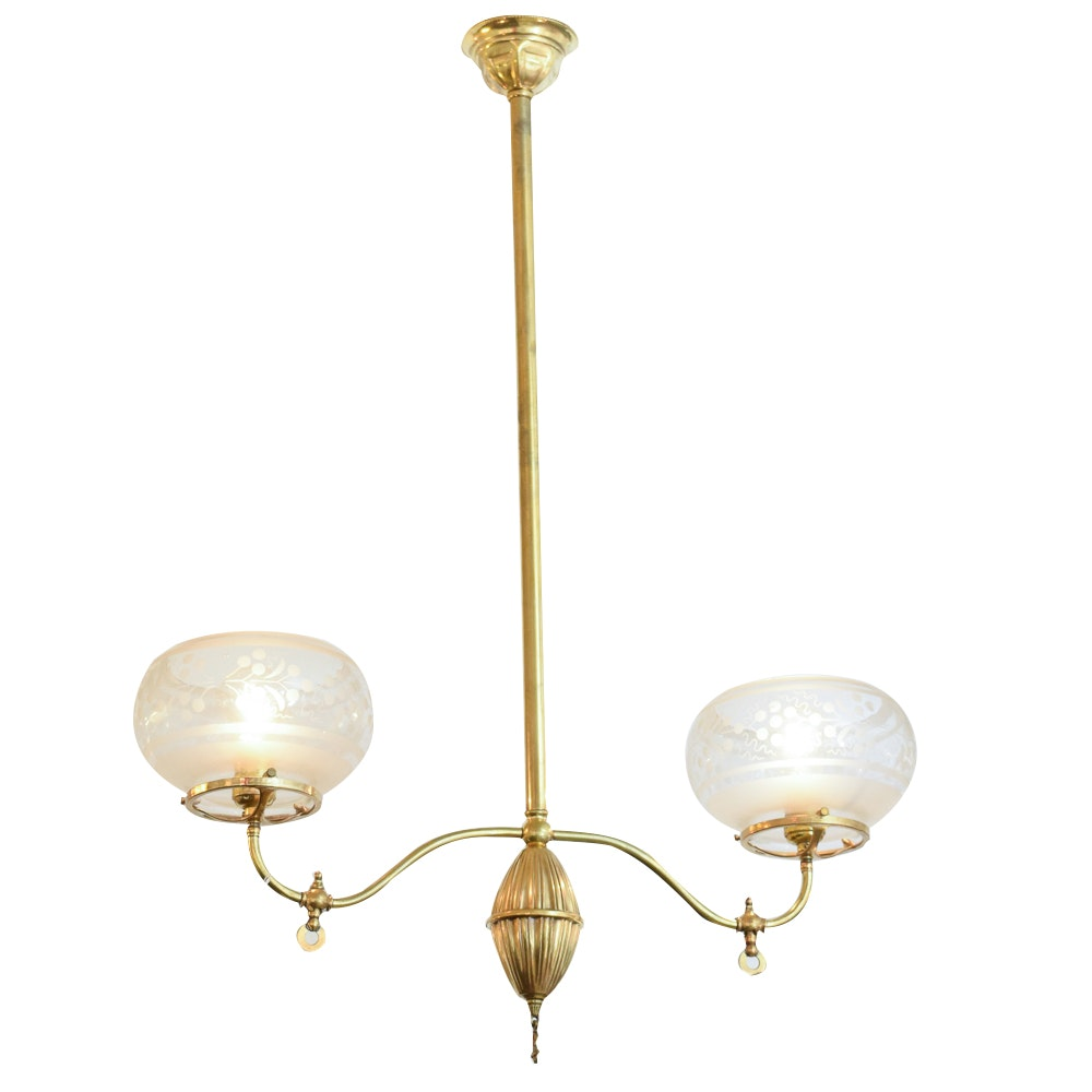 Converted Brass Chandelier With Etched Glass Shades