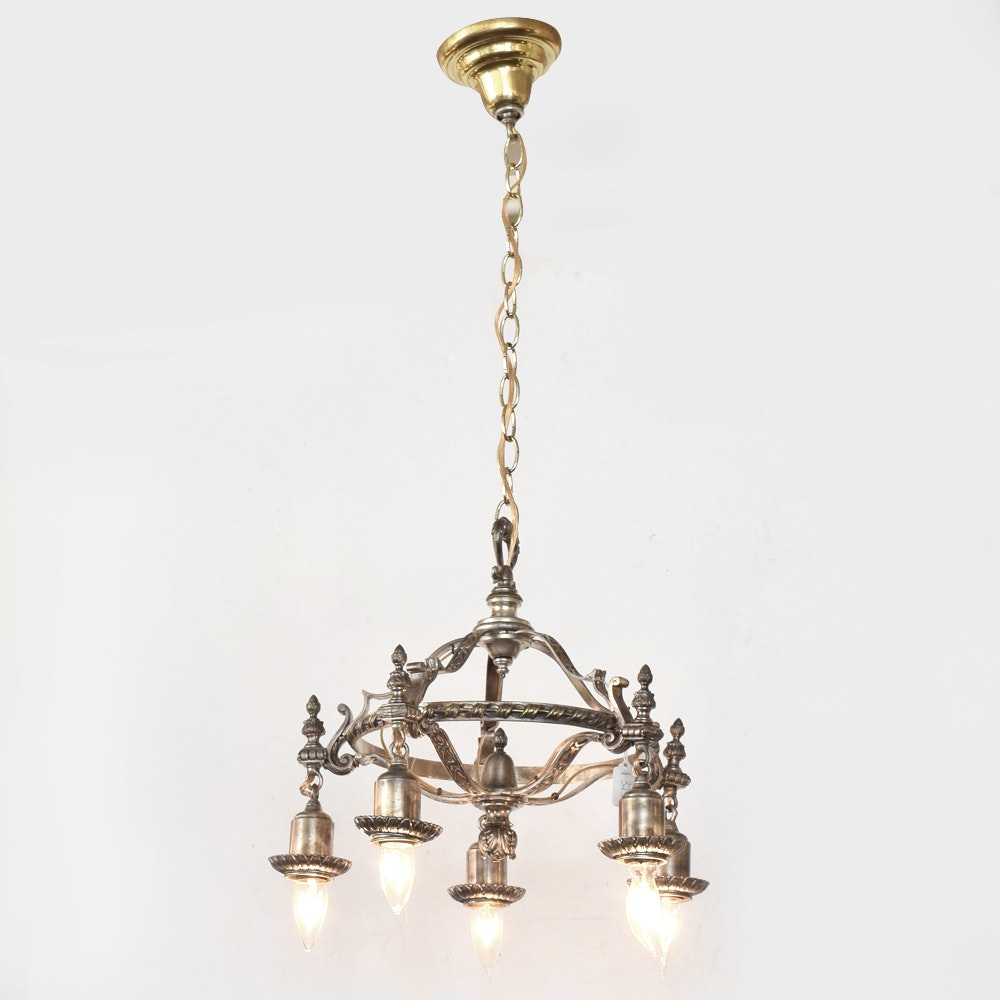 Brass Neoclassical Style Chandelier