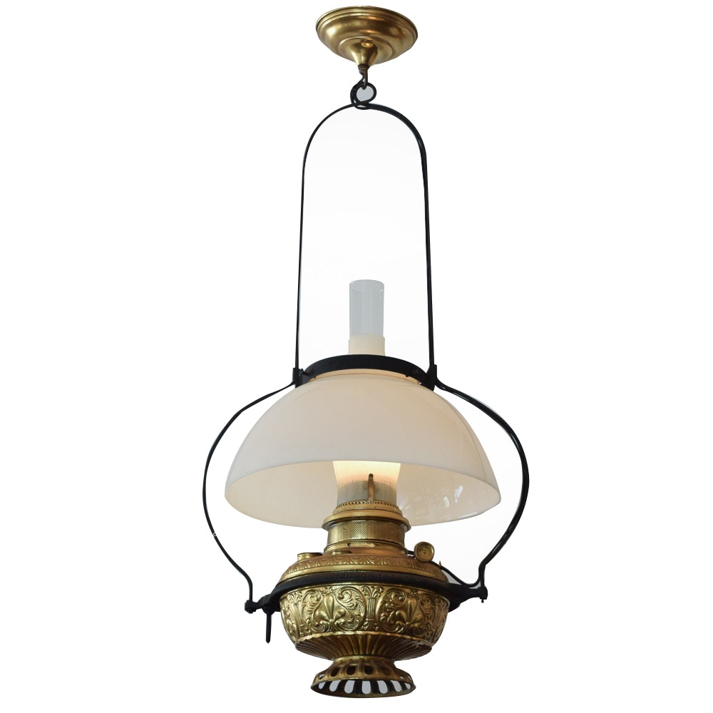 Antique Converted Oil Lamp Chandelier