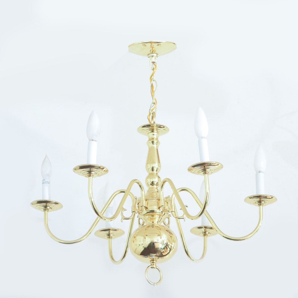 Traditional Six Light Brass Chandelier