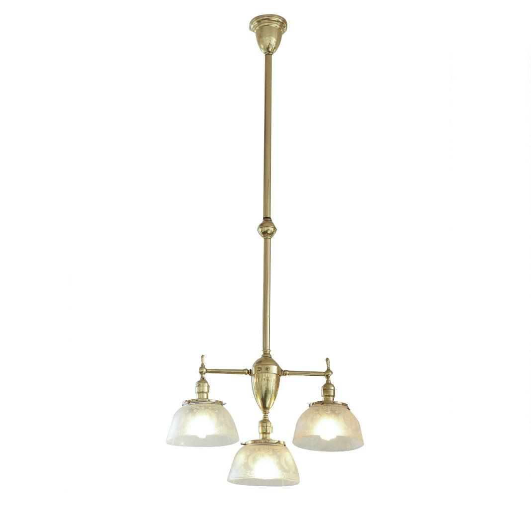 Vintage Brass and Glass Pendant Light