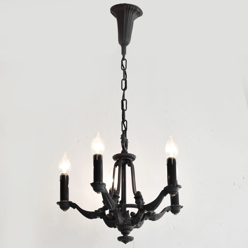 Vintage Black Wrought Iron Chandelier