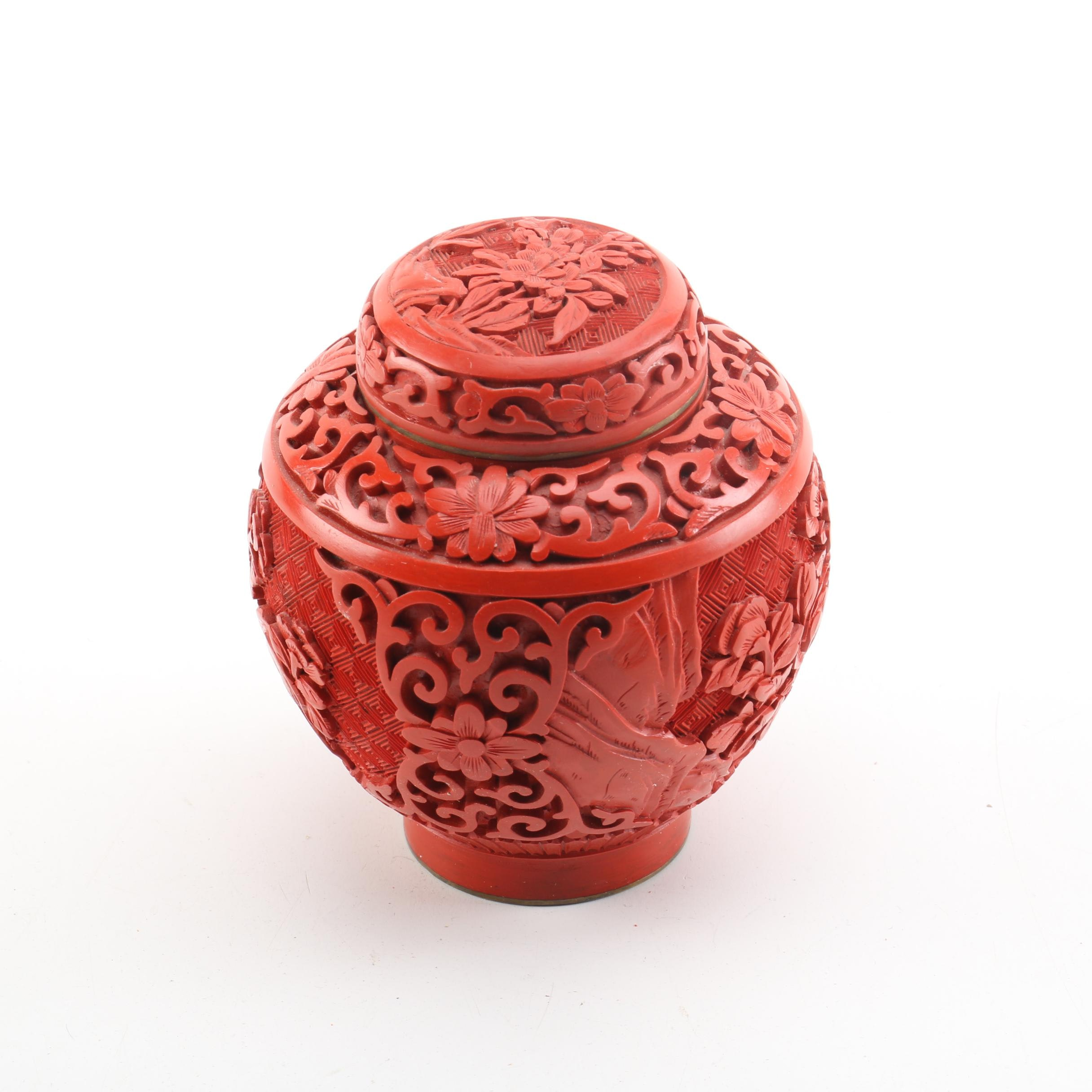 Chinese Cinnabar Ginger Jar