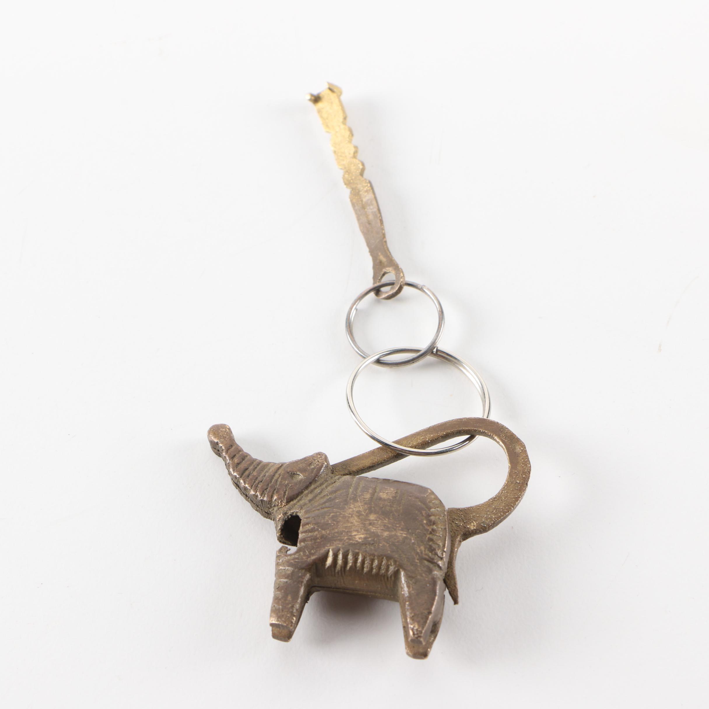 Vintage Brass Figural Elephant Padlock