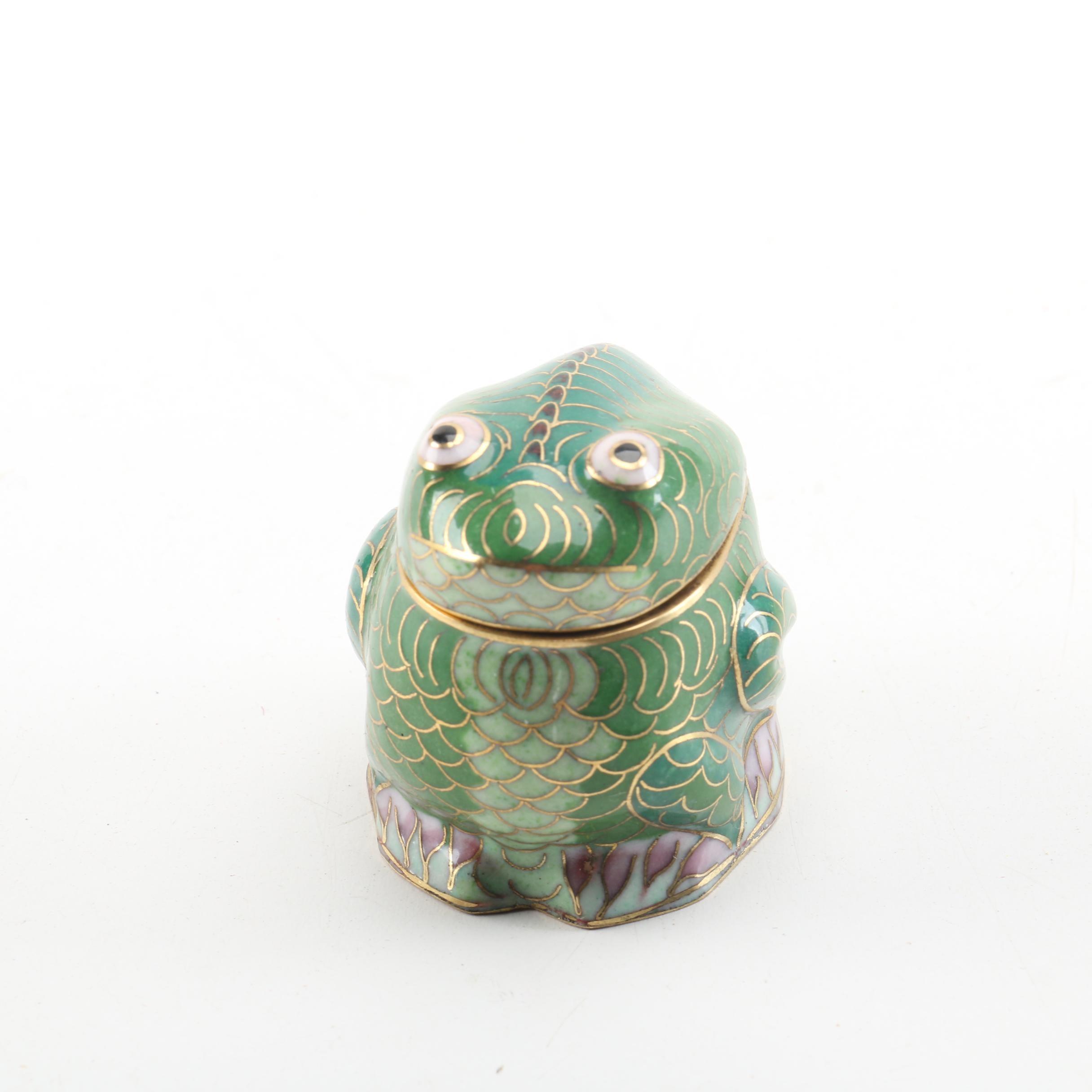 Cloisonne Frog Trinket Box