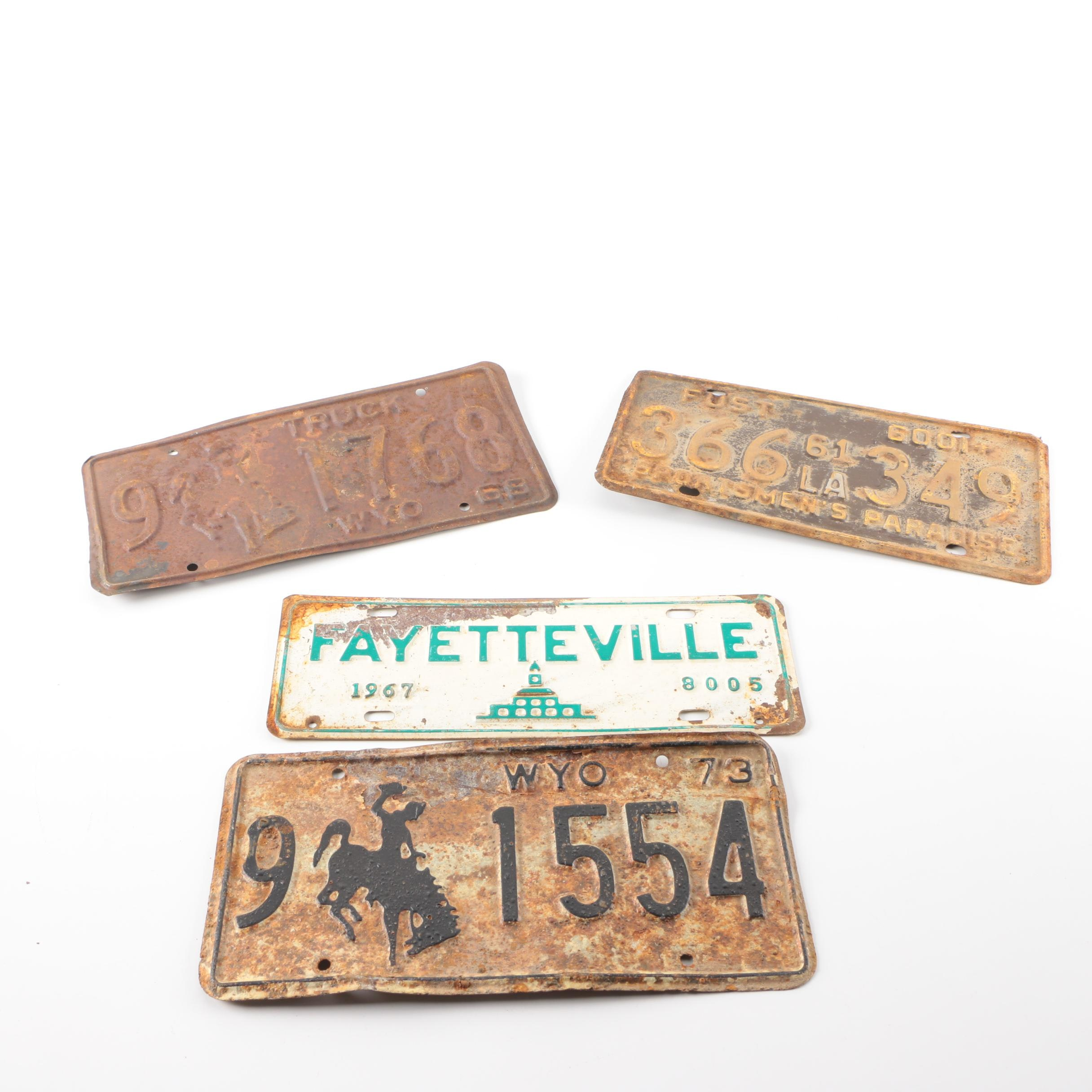 Vintage License Plates from Wyoming, Louisiana, and North Carolina