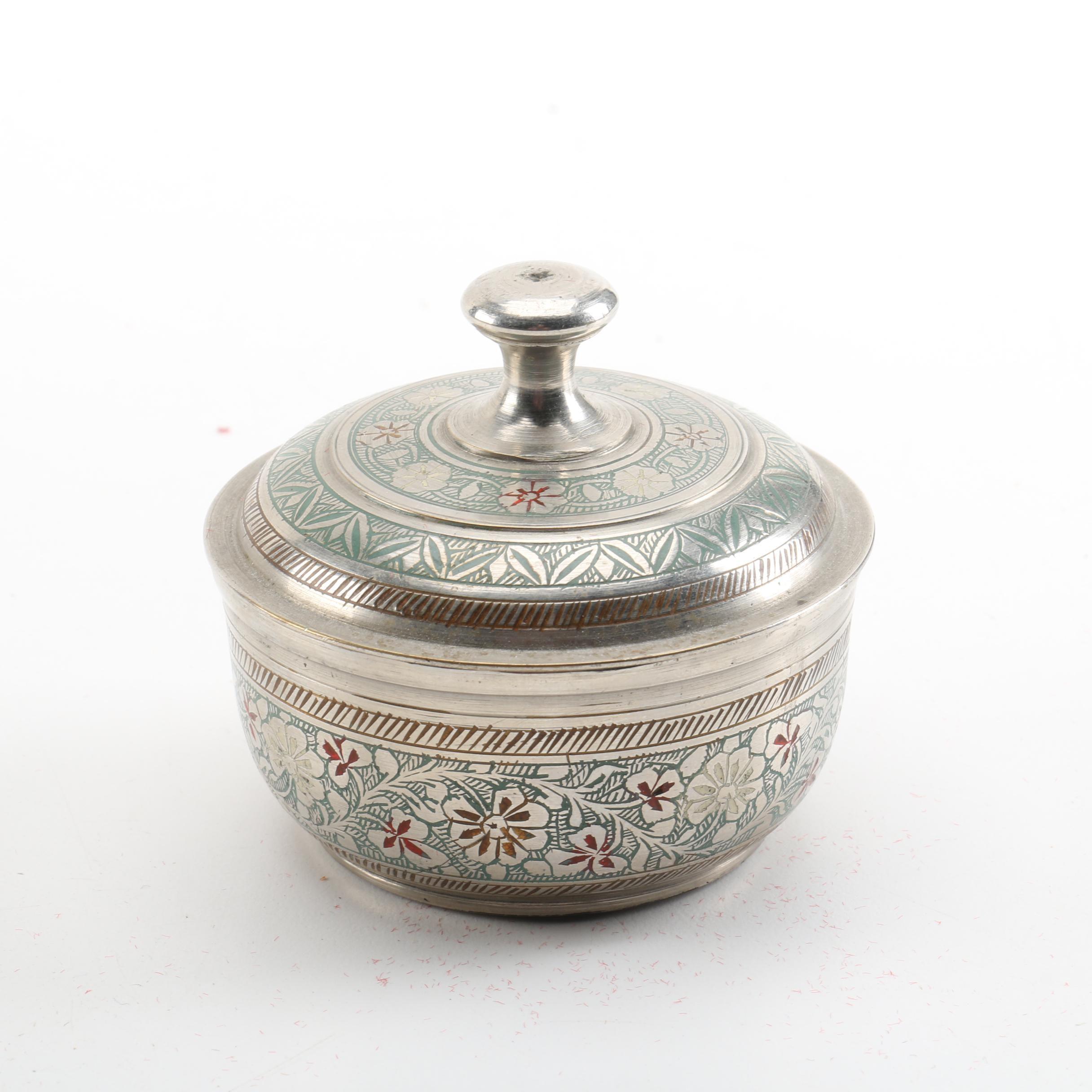 Floral Motif Metal Lidded Jar