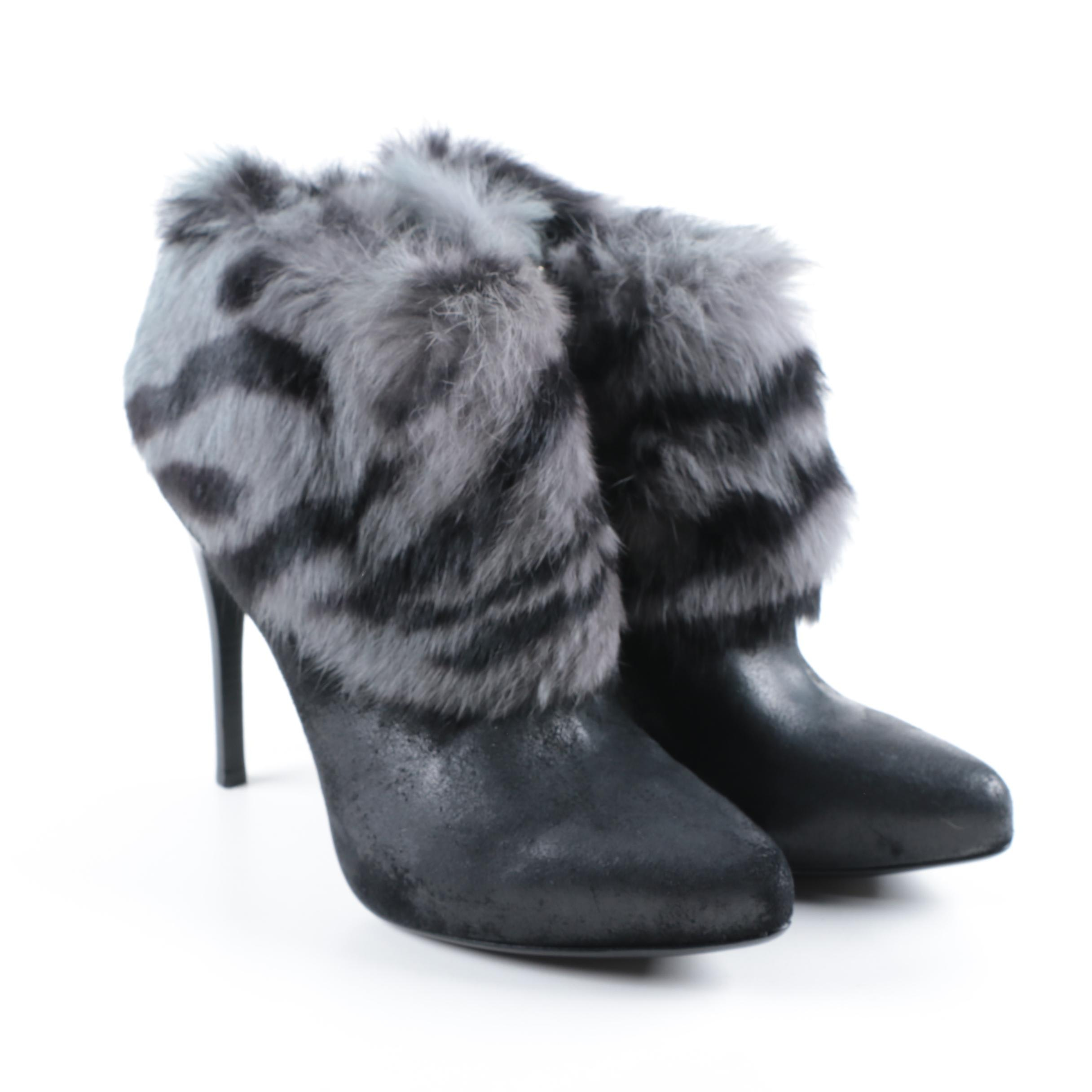 Donald J Pliner Rabbit Fur Trimmed Booties