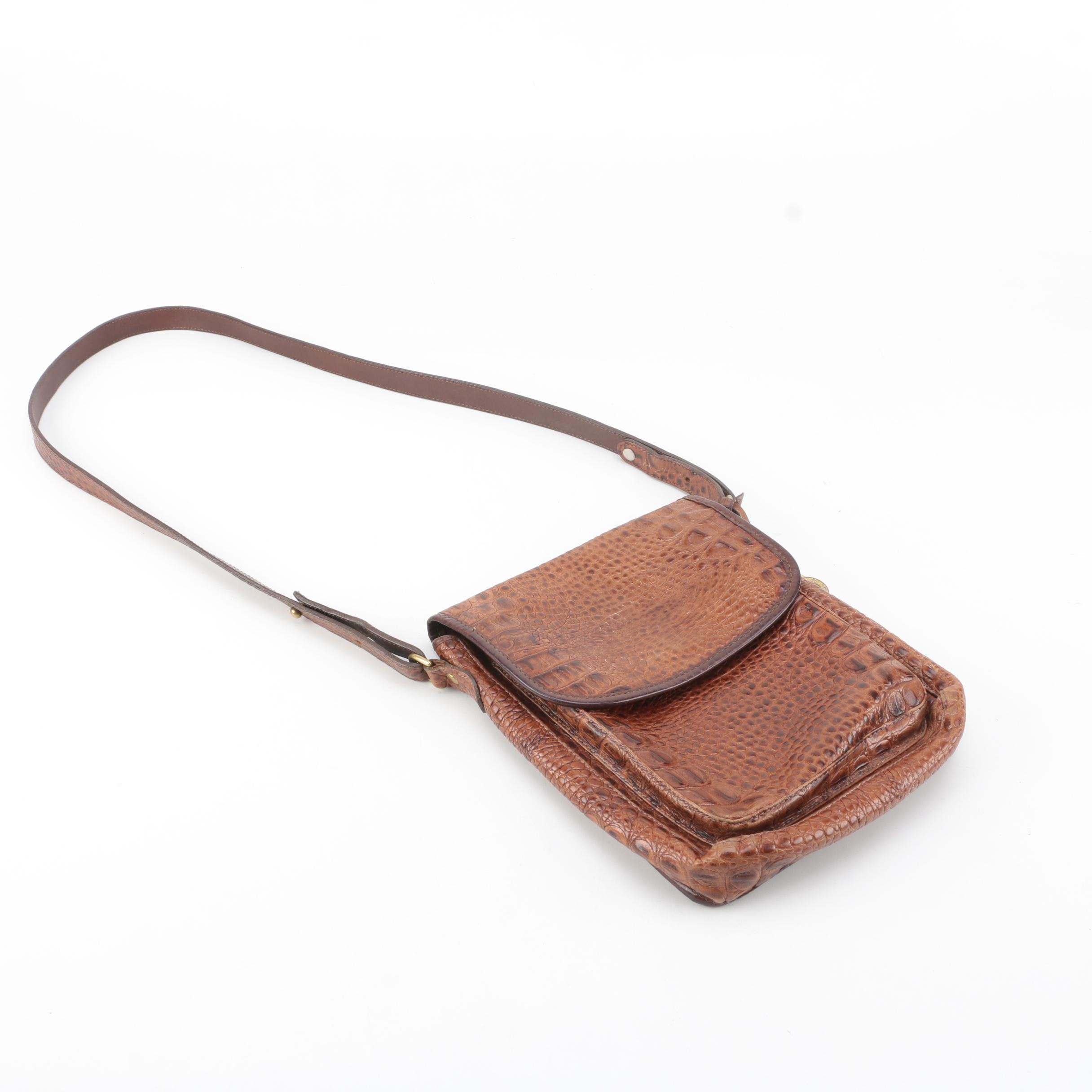 Brahmin Brown Crocodile-Embossed Leather Crossbody Bag