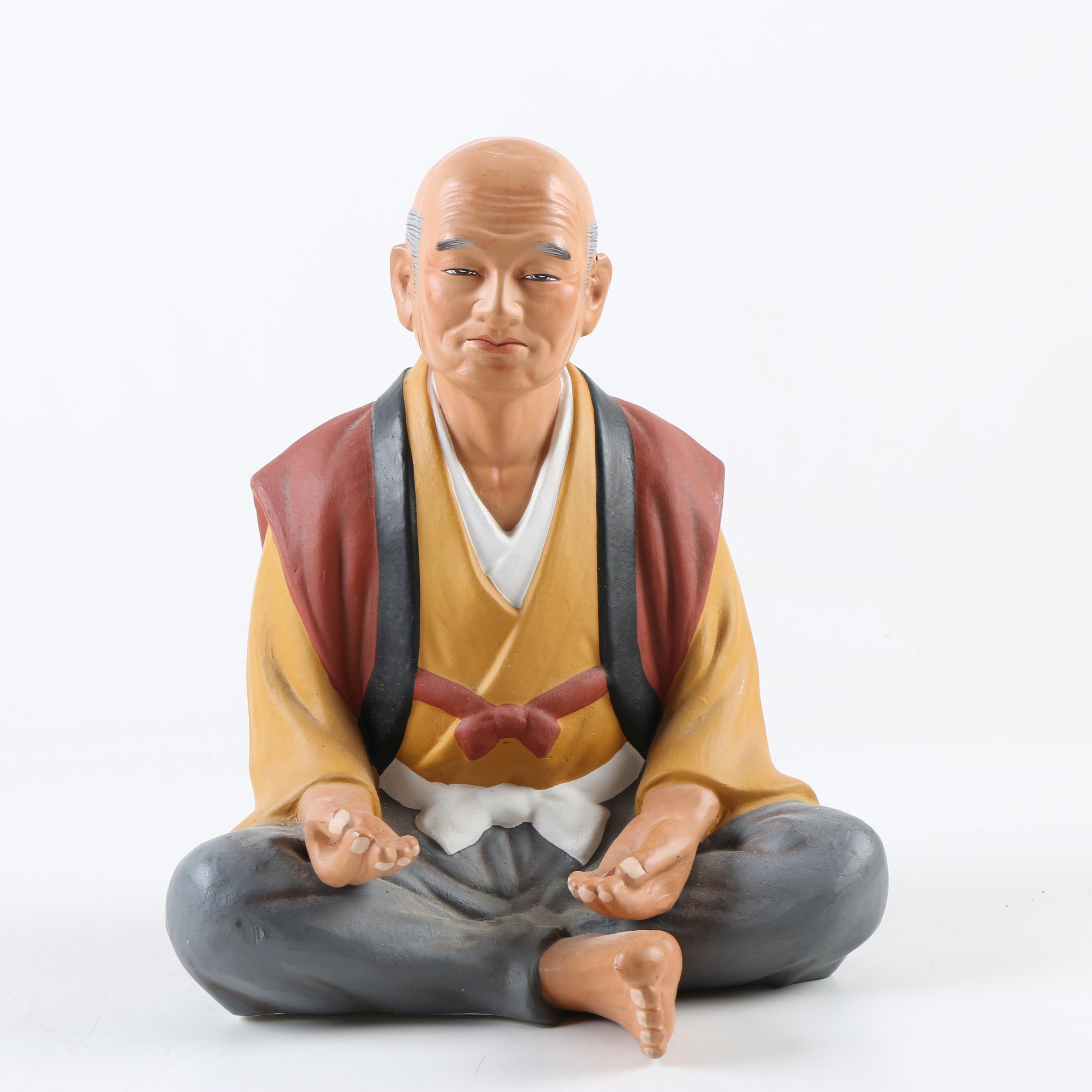 Japanese Hakata Style Ceramic Figurine of a Seated Man