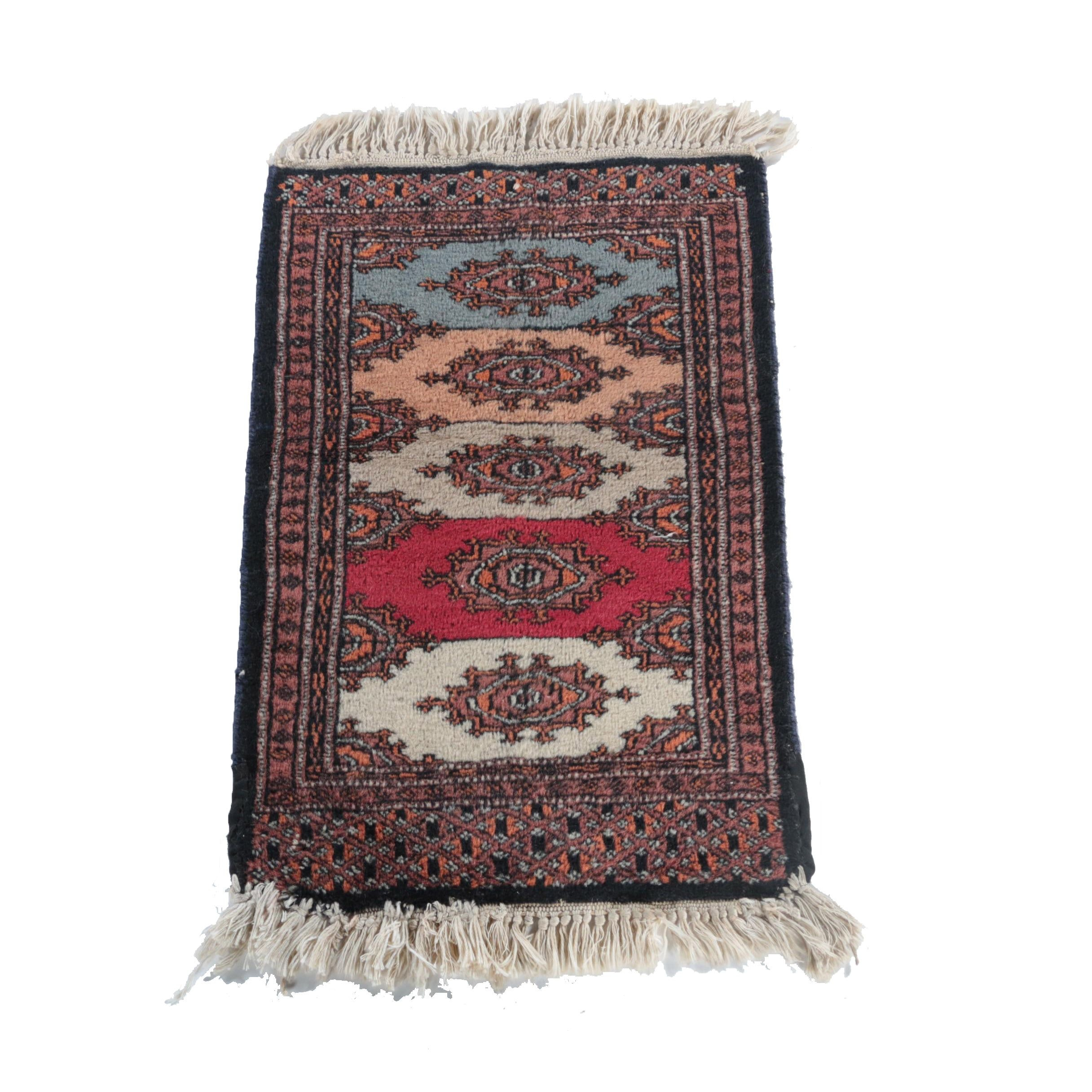 Hand-Knotted Bokhara Multicolored Accent Rug