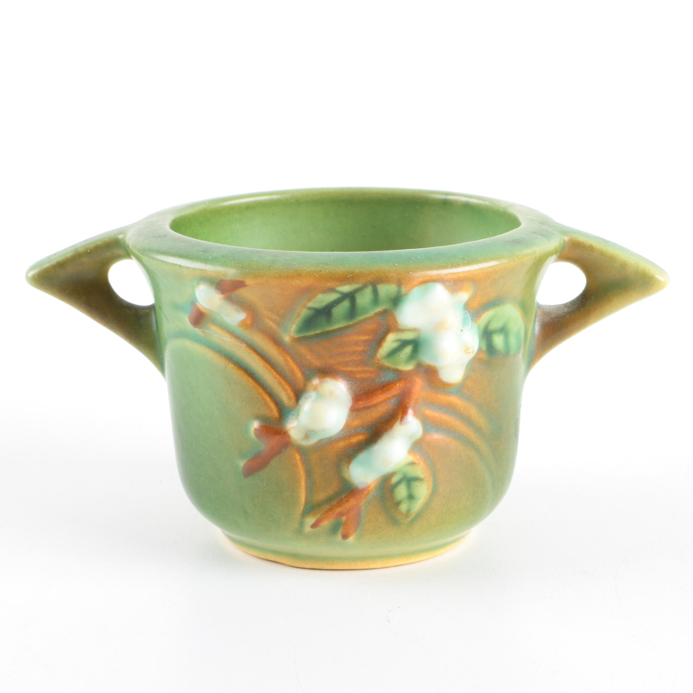 "Roseville Pottery ""Snowberry"" Sugar Bowl"