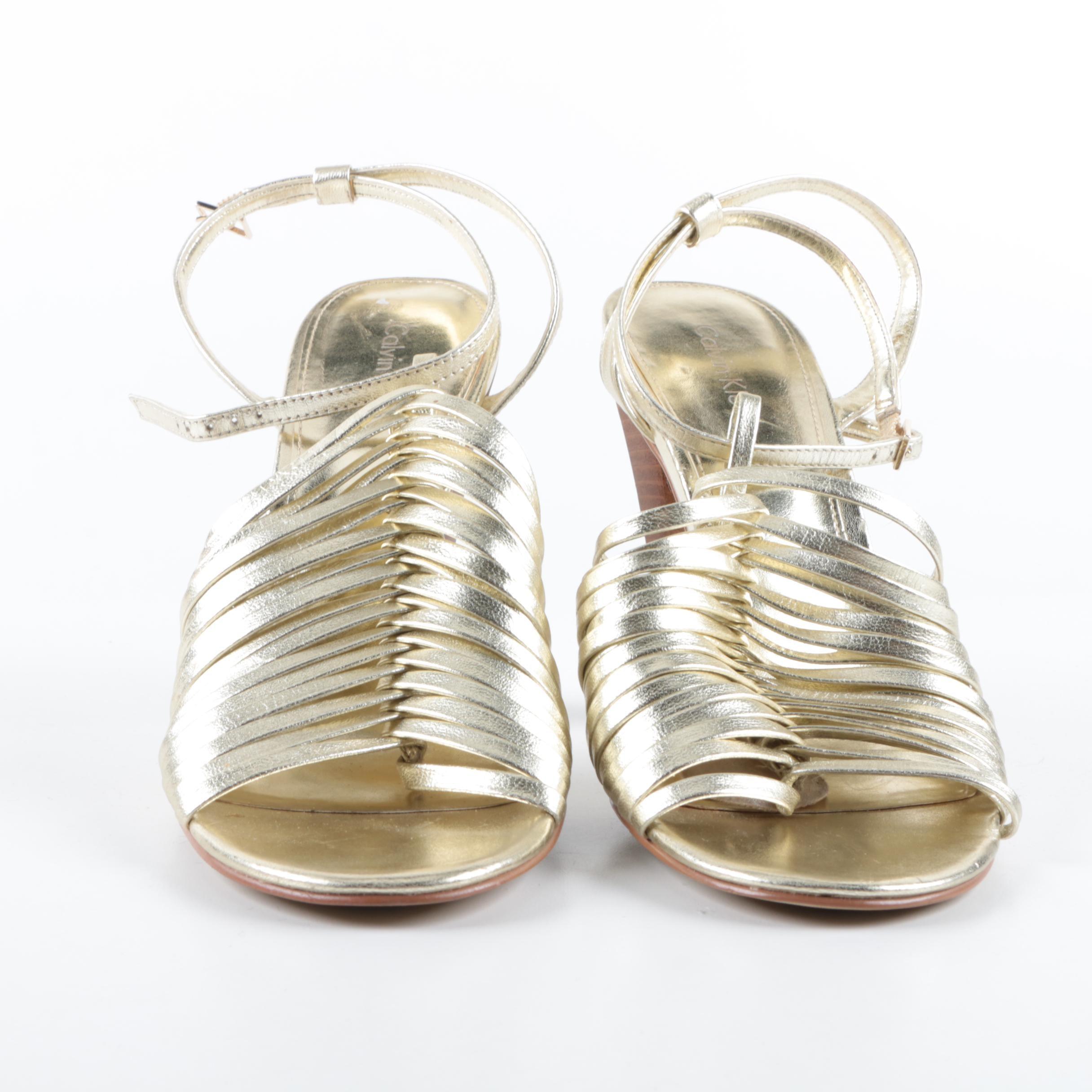 Calvin Klein Metallic Gold Leather Strappy Sandals
