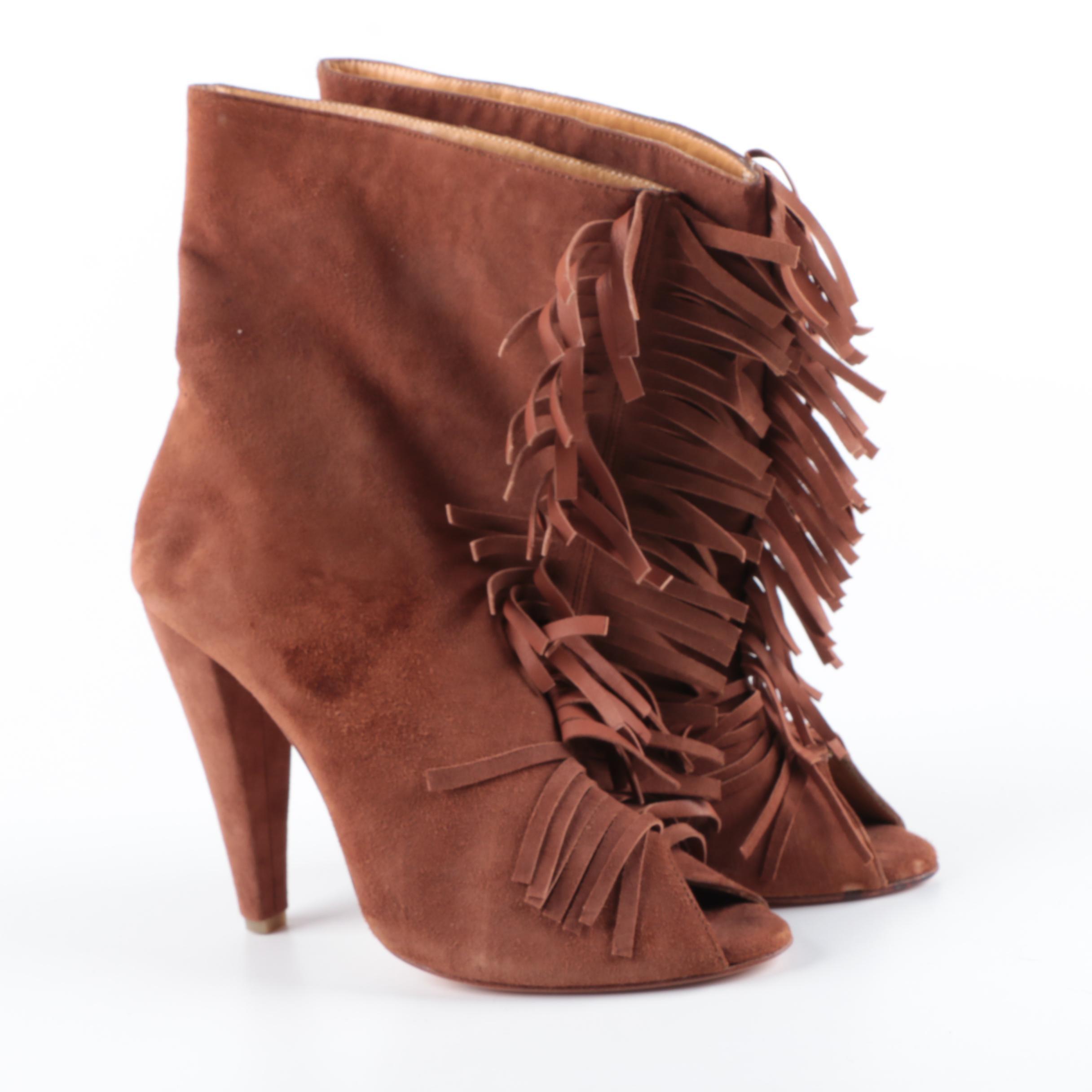 Plomo Suede Fringe Peep Toe Boots