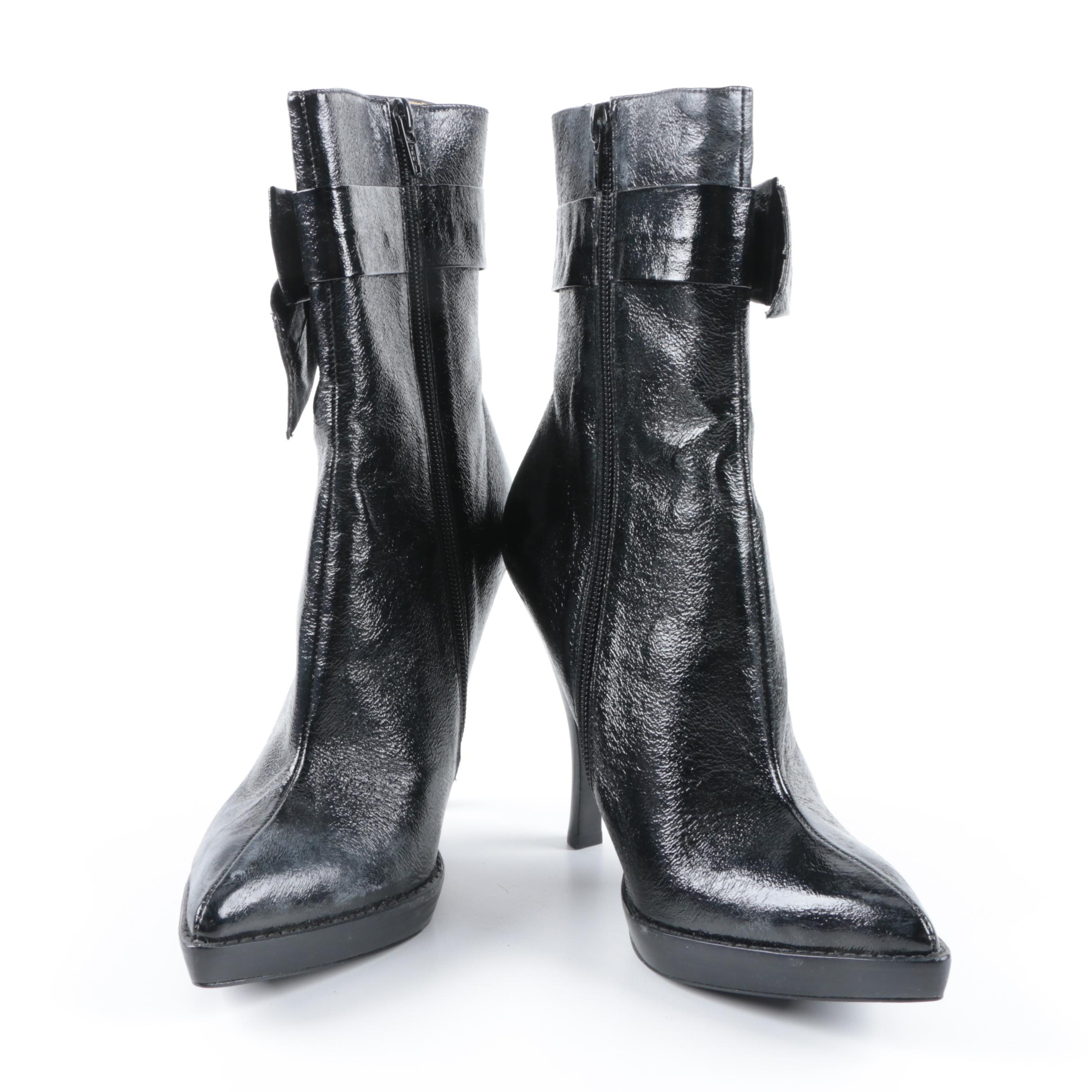Hale Bob Black Side Bow Stiletto Boots