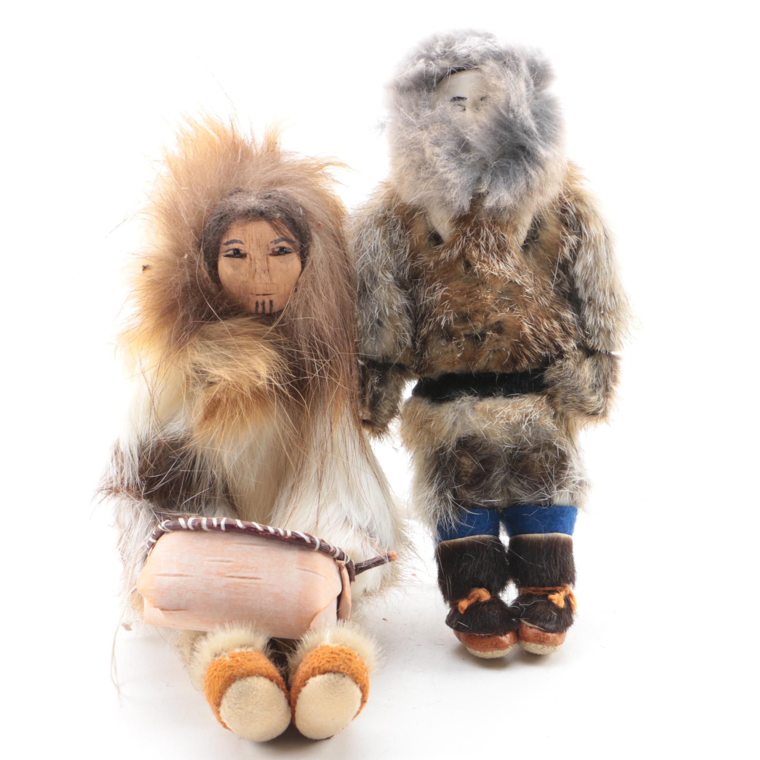Eskimo Figurines with Rabbit Fur