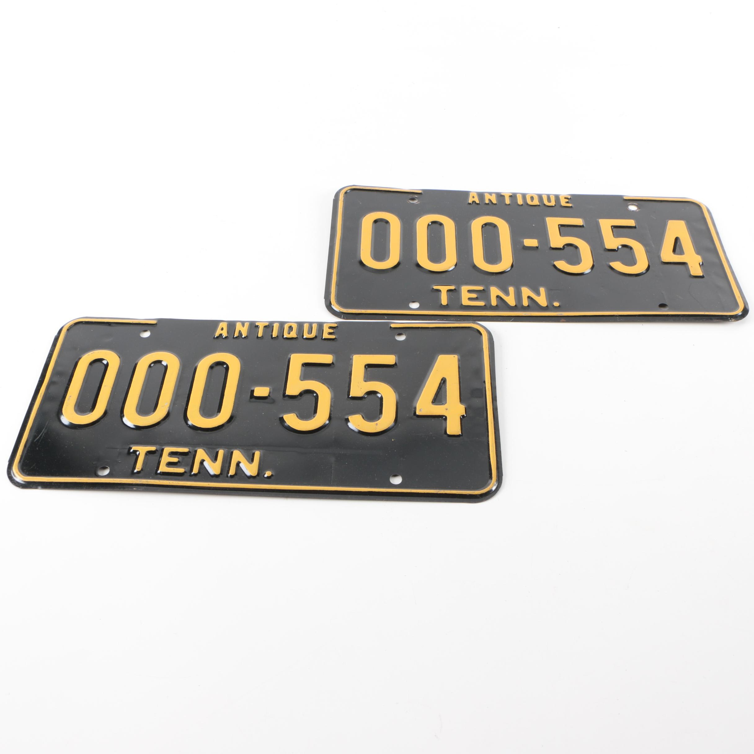 Tennessee Antique Vehicle License Plates