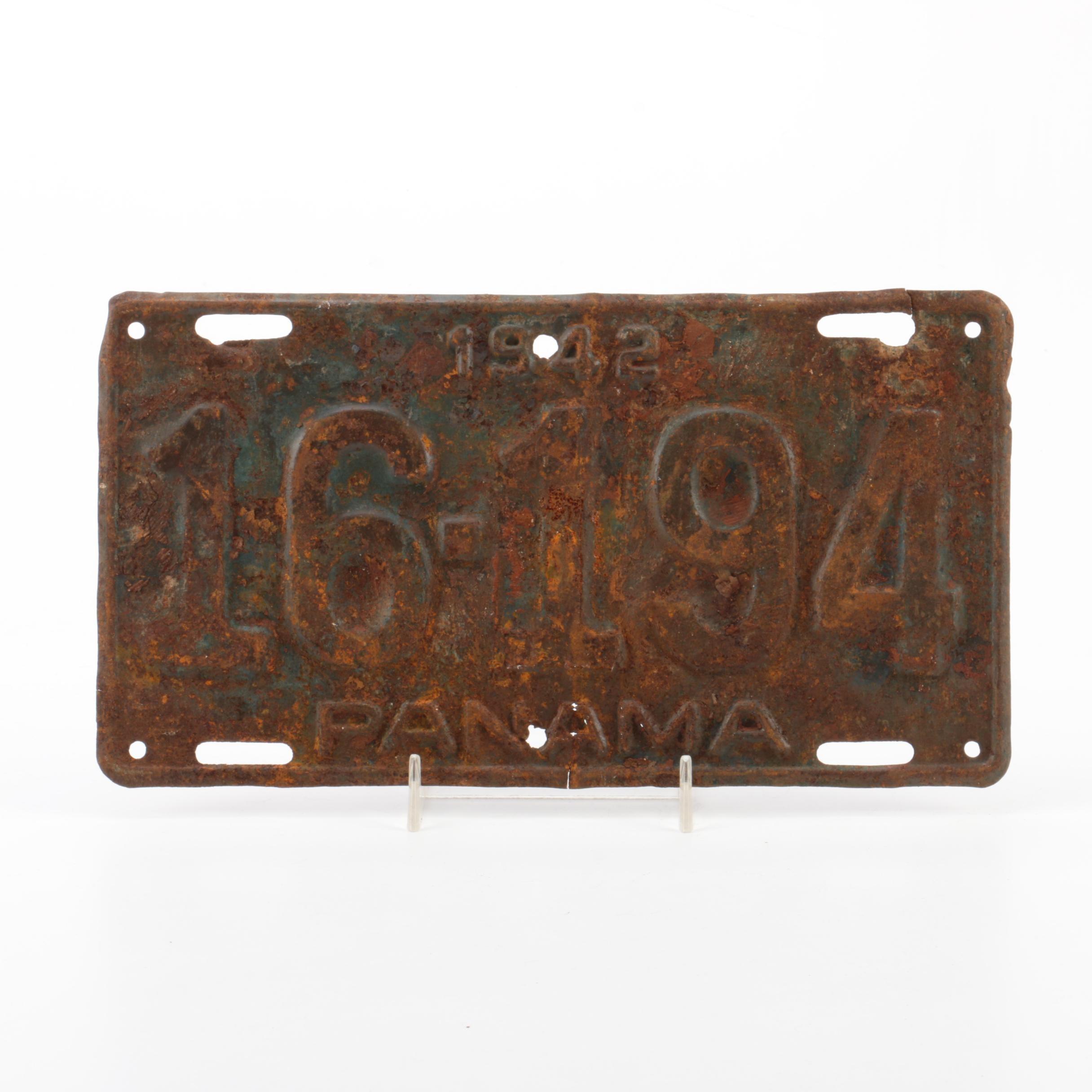 1942 Panama License Plate