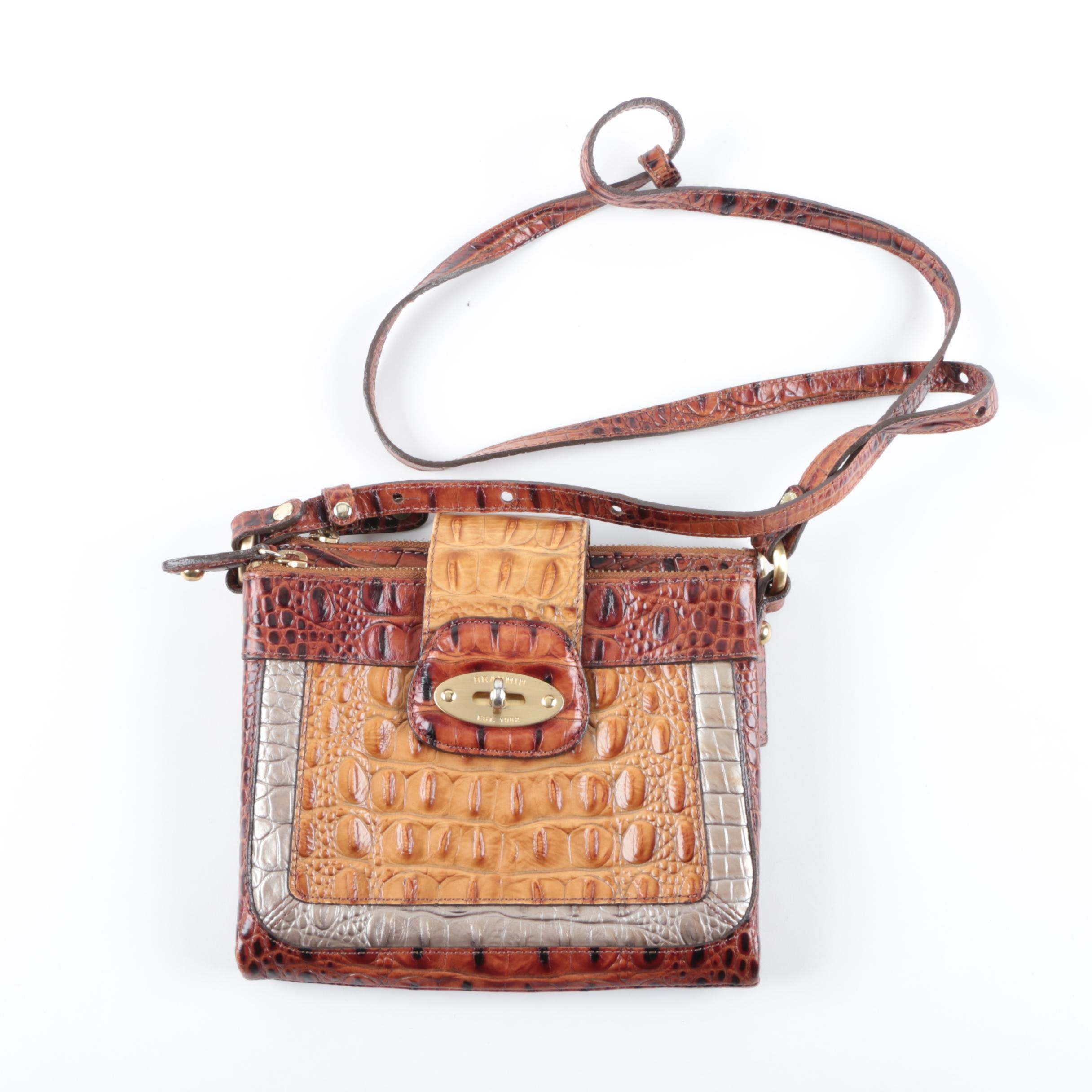 Brahmin Faux Crocodile Embossed Leather Crossbody Handbag