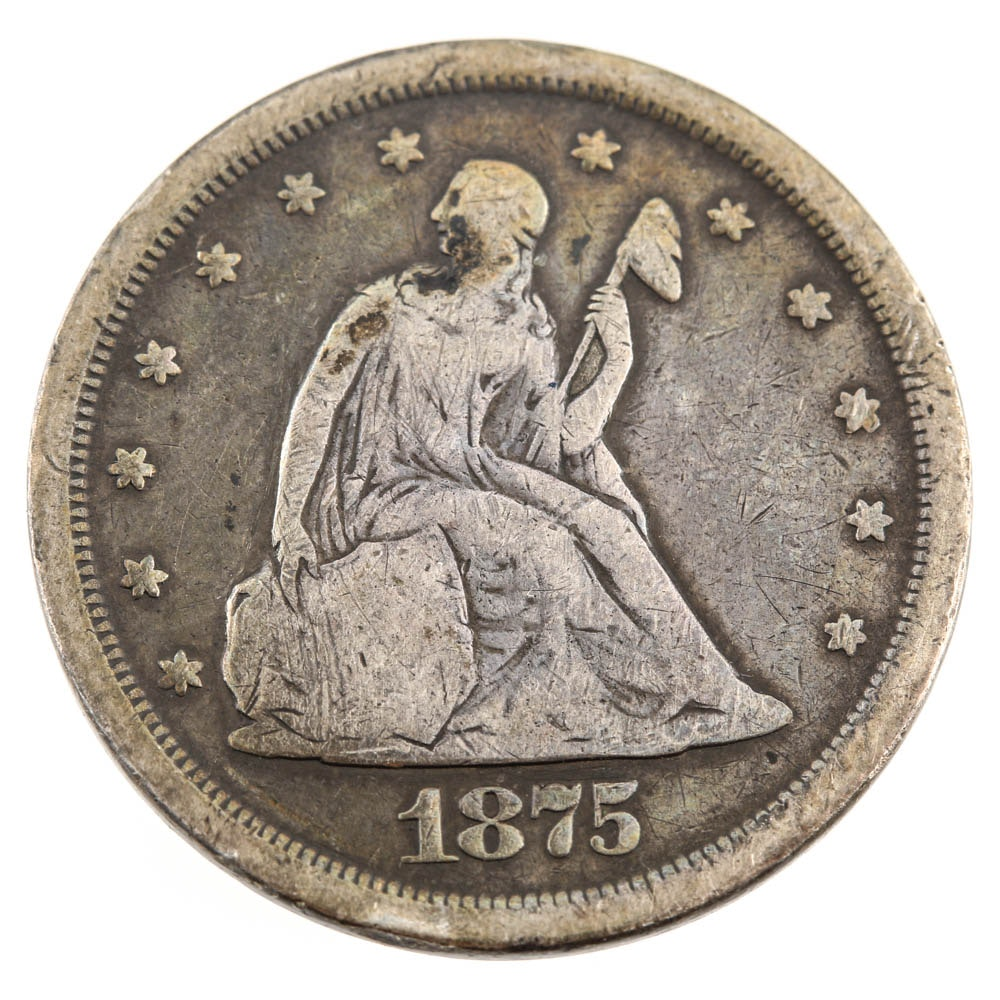 1875 S Liberty Seated 20 Cent Coin